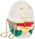 Luxury Accessories:Bags, Judith Leiber Full Bead Silver, Red, Green & Chalk CrystalHumpty Dumpty Minaudiere Evening Bag. ...