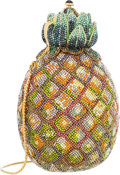 Luxury Accessories:Bags, Judith Leiber Full Bead Gold & Green Crystal PineappleMinaudiere Evening Bag. ...