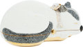 Luxury Accessories:Bags, Judith Leiber Full Bead Silver & Chalk Crystal Napping CatMinaudiere Evening Bag. ...