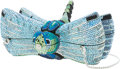 Luxury Accessories:Bags, Judith Leiber Full Bead Blue & Green Crystal Dragon FlyMinaudiere Evening Bag. ...