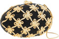 Luxury Accessories:Bags, Judith Leiber Full Bead Gold & Black Crystal Egg MinaudiereEvening Bag. ...