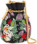 Luxury Accessories:Bags, Judith Leiber Full Bead Black & Floral Crystal DrawstringMinaudiere Evening Bag. ...