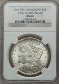 Morgan Dollars, (3)1921 $1 Morgan, Wide Reeds, VAM-13, 27A and 28 MS64 NGC. Top100.. From The Parcfeld Collection.... (Total: 3 coins)