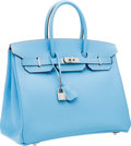 Luxury Accessories:Bags, Hermes Limited Edition Candy Collection 35cm Blue Celeste &Blue Mykonos Epsom Leather Birkin Bag with Palladium Hardware. ...
