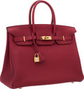 Luxury Accessories:Bags, Hermes 35cm Rubis Togo Leather Birkin Bag with Gold Hardware. ...