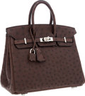 Luxury Accessories:Bags, Hermes 25cm Havane Ostrich Birkin Bag with Palladium Hardware. ...