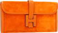 Luxury Accessories:Bags, Hermes Orange H Veau Doblis Suede & Calf Box Leather Jige ElanH Clutch Bag. ...