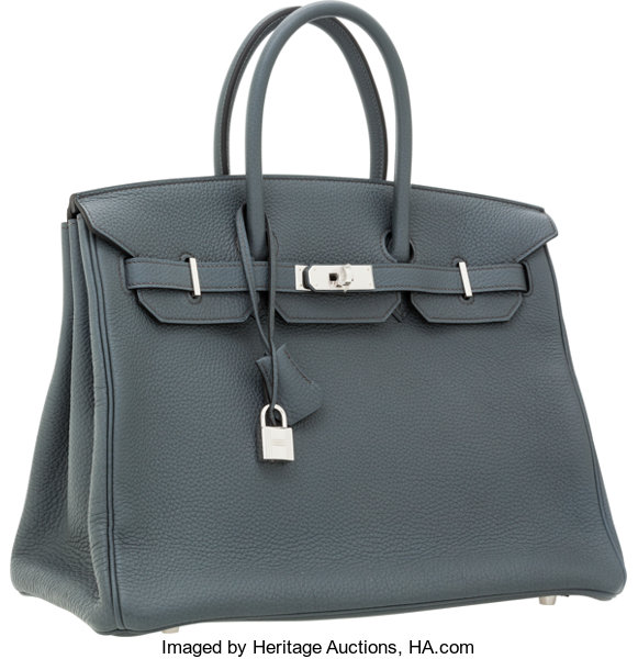 3dc1595377 Hermes 35cm Blue Orage Togo Leather Birkin Bag with