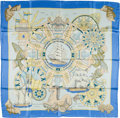 "Luxury Accessories:Accessories, Hermes Blue & Yellow ""L'Air Marin,"" by Joachim Metz Silk Scarf...."