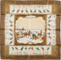 """Luxury Accessories:Accessories, Hermes Olive Green, Gold & Cream """"Les Plaisirs du Froid,"""" Silk Scarf. ..."""