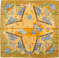 "Luxury Accessories:Accessories, Hermes Yellow, Orange & Blue ""Balade Ocean,"" by Julia Abadie Silk Scarf. ..."