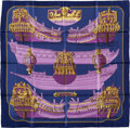 "Luxury Accessories:Accessories, Hermes Navy, Purple & Gold ""Grande Marine,"" by J.O. Silk Scarf...."