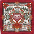 "Luxury Accessories:Accessories, Hermes Red & Green ""Decoupages,"" by Anne Rosat Silk Scarf. ..."