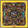 "Luxury Accessories:Accessories, Hermes Black & Yellow Multicolor ""Pierres d'Orient et d'Occident,"" by Zoe Pauwels Silk Scarf. ..."