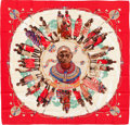 "Luxury Accessories:Accessories, Hermes Red & Cream ""Perles du Kenya,"" by Dimitri RybaltchenkoSilk Scarf. ..."