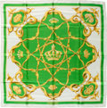 "Luxury Accessories:Accessories, Hermes Lime Green, White & Gold ""Crowns,"" by Julia Abadie SilkScarf. ..."