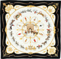 "Luxury Accessories:Accessories, Hermes Navy, White & Gold ""The Royal Mews,"" by Jean DeFougerolle Silk scarf. ..."