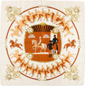 "Luxury Accessories:Accessories, Hermes White, Brown & Gold ""Manege,"" by Philippe Ledoux SilkScarf. ..."