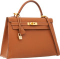 Luxury Accessories:Bags, Hermes 32cm Gold Courchevel Leather Sellier Kelly Bag with GoldHardware. ...