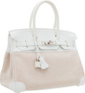 Luxury Accessories:Bags, Hermes 30cm White Clemence Leather & Toile Birkin Bag withPalladium Hardware. ...