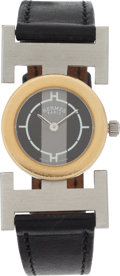 Luxury Accessories:Accessories, Hermes Gold & Stainless Steel Lugs H Watch with Black Calf BoxLeather Strap. ...