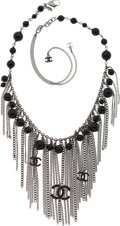 Luxury Accessories:Accessories, Chanel Gunmetal Multichain Necklace with CC Logos & Black Beads. ...