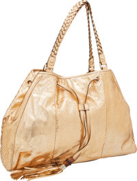 Gucci Metallic Copper Snakeskin Shoulder Bag with Braided Handles