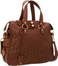 Luxury Accessories:Bags, Yves Saint Laurent Brown Ostrich Rive Gauche Bag with Brushed GoldHardware. ...