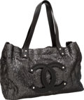 Luxury Accessories:Bags, Chanel Silver Sequin & Black Leather CC Tote Bag. ...