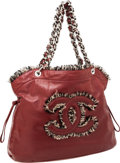 Luxury Accessories:Bags, Chanel Red Antiqued Leather CC Shoulder Bag with Tweed Details. ...