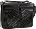 Luxury Accessories:Bags, Chanel Black Patent Leather Messenger Bag with Geometric CC Design....
