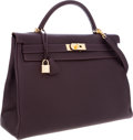 Luxury Accessories:Bags, Hermes 40cm Raisin Togo Leather Retourne Kelly Bag with Gold Hardware. ...