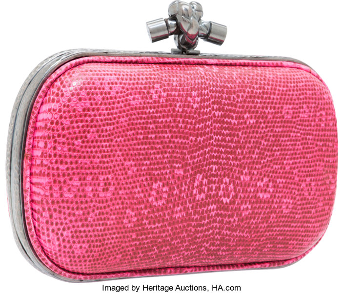 74eca40ae813 Bottega Veneta Neon Pink Ring Lizard Knot Clutch Bag with