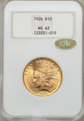 Indian Eagles: , 1926 $10 MS62 NGC. Gold CAC. NGC Census: (14053/18909). PCGSPopulation (12040/14295). Mintage: 1,014,000. Numismedia Wsl. ...