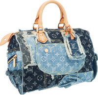 Louis Vuitton Limited Edition Denim Patchwork Monogram Speedy 30 Bag