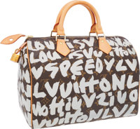 Louis Vuitton 2001 Limited Edition Monogram Graffiti by Stephen Sprouse Speedy 30 Bag
