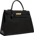 Luxury Accessories:Bags, Hermes 35cm Shiny Black Crocodile Sellier Kelly Bag with Gold Hardware. ...