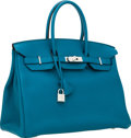Luxury Accessories:Bags, Hermes 35cm Blue Izmir Clemence Leather Birkin Bag with PalladiumHardware. ...