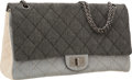 Luxury Accessories:Bags, Chanel Gray & Beige Quilted Denim Maxi Double Flap Bag withGunmetal Hardware & Jewel Chain Strap. ...