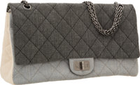 Chanel Gray & Beige Quilted Denim Maxi Double Flap Bag with Gunmetal Hardware & Jewel Chain Strap