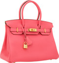 Luxury Accessories:Bags, Hermes 30cm Rose Lipstick Togo Leather Birkin Bag with GoldHardware. ...