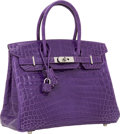 Luxury Accessories:Bags, Hermes 30cm Shiny Ultra Violet Nilo Crocodile Birkin Bag withPalladium Hardware. ...