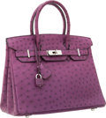 Luxury Accessories:Bags, Hermes 30cm Violine Ostrich Birkin Bag with Palladium Hardware. ...