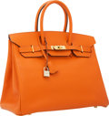 Luxury Accessories:Bags, Hermes 35cm Orange H Epsom Leather Birkin Bag with Gold Hardware....