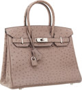 Luxury Accessories:Bags, Hermes 30cm Gris Clair Ostrich Birkin Bag with Palladium Hardware. ...