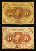 Fractional Currency:First Issue, Fr. 1229 5¢ First Issue VF. Fr. 1230 5¢ First Issue VF.. ... (Total: 2 notes)
