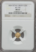 California Fractional Gold: , 1854 25C Liberty Octagonal 25 Cents, BG-105, R.3, MS63 NGC. NGCCensus: (14/22). PCGS Population (52/98). ...