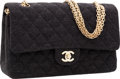 Luxury Accessories:Bags, Chanel Gray Quilted Cotton Medium Double Flap Bag with Gold Hardware & Jewel Chain Strap. ...