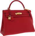 Luxury Accessories:Bags, Hermes 32cm Rouge Vif Buffalo Leather Retourne Kelly Bag with Gold Hardware. ...