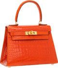 Luxury Accessories:Bags, Hermes 20cm Shiny Orange H Alligator Mini Kelly Bag with Gold Hardware. ...